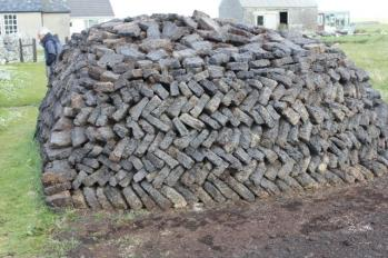 20 stacked peat moss mound