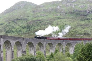 19 steam train passing over viaduct
