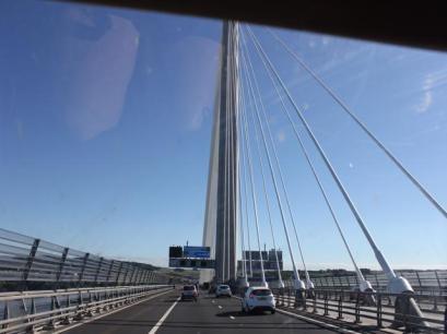86 driving across bridge