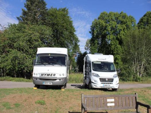 36 our two vans parked up on River Spey