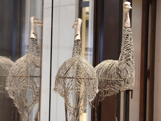 11 emus made from barbed wire by Aboriginal Community