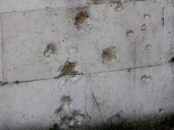 45 bullet holes from WWII