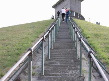 42 stairs to top of mound