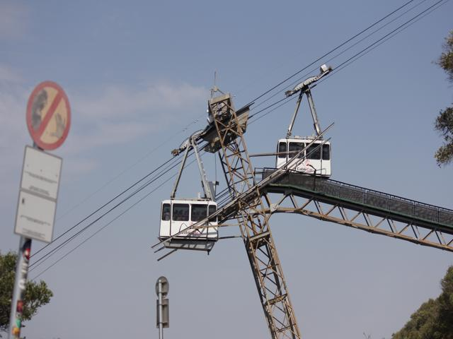 59 cable cars going up and down The Rock