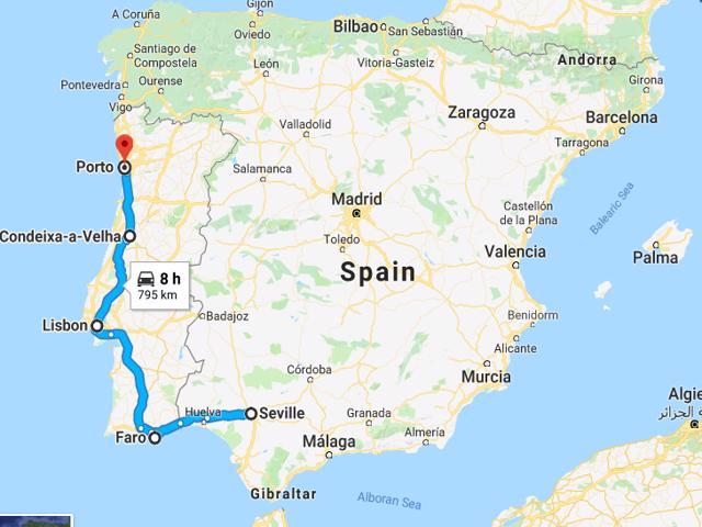 Seville to Porto