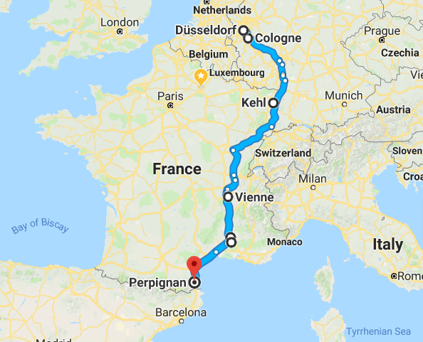 Cologne to Perpignan