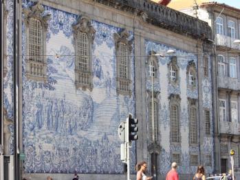 34 tiles on church wall
