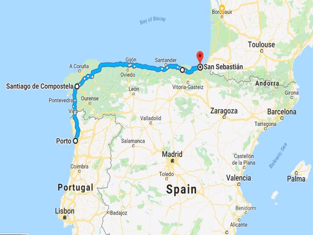 Porto to San Sebastian